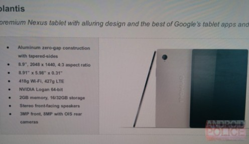 HTC Nexus 9 specs leak